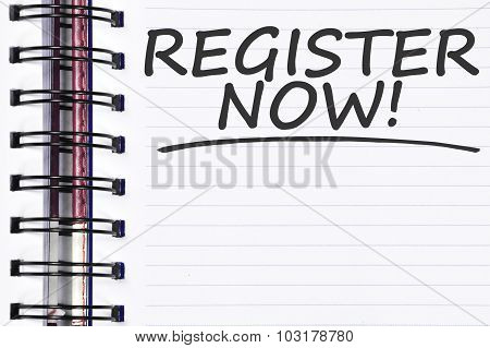 Register Now Words On Spring Note Book