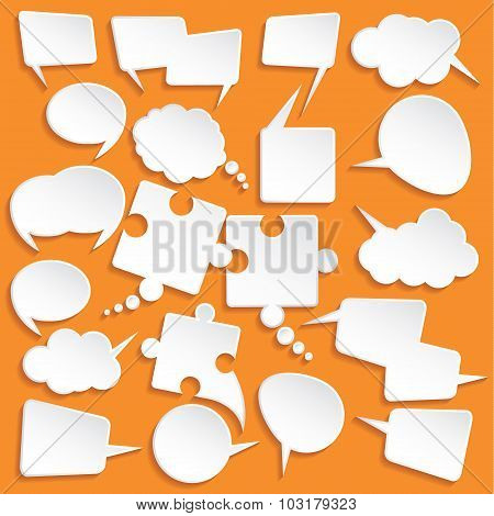 Shiny White Paper Bubbles For Speech On An Orange Background