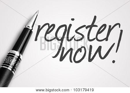 Pen Writes Register Now