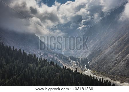 The Panorama Of Mountain Landscape Of Ala-archa Gorge In The Summer's Day, Kyrgyzstan.