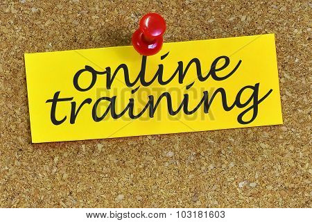 Online Training Word On Notepaper With Cork Background