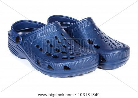 Blue Rubber Slippers, For Use At Work And On Vacation