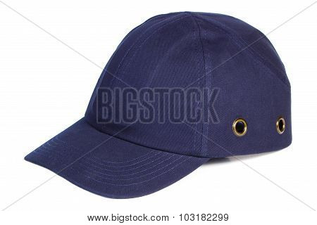 Navy Blue Baseball Cap On White Background, Protection From Sun