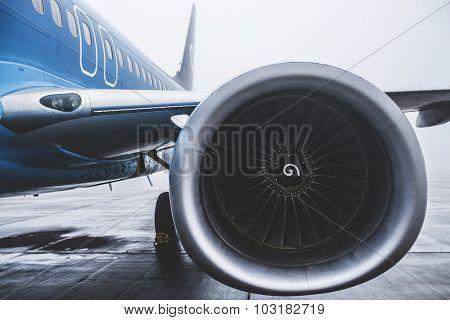 Airplane exterior close up