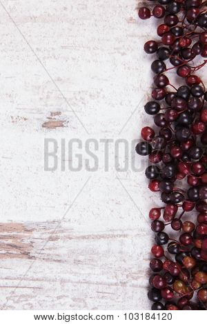 Autumn Fresh Elderberry And Copy Space For Text On Old Wooden Background