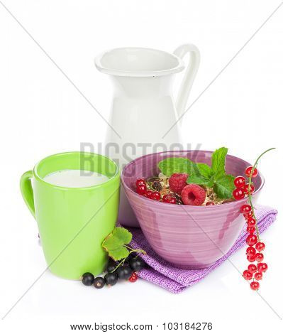 Healthy breakfast with muesli and milk. Isolated on white background