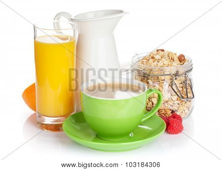 Healthy breakfast with muesli. Isolated on white background