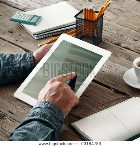 Men Hand Clicks On The Screen Blank Tablet