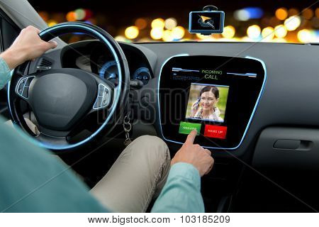 transport, modern technology, communication and people concept - close up of man driving car and receiving call from woman on board computer screen