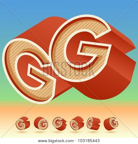 3D vector retro alphabet for summer typography design. All symbols in set have 8 random points of view. Letter G