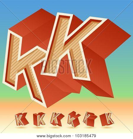 3D vector retro alphabet for summer typography design. All symbols in set have 8 random points of view. Letter K