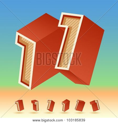 3D vector retro alphabet for summer typography design. All symbols in set have 8 random points of view. Number 1