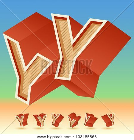 3D vector retro alphabet for summer typography design. All symbols in set have 8 random points of view. Letter Y