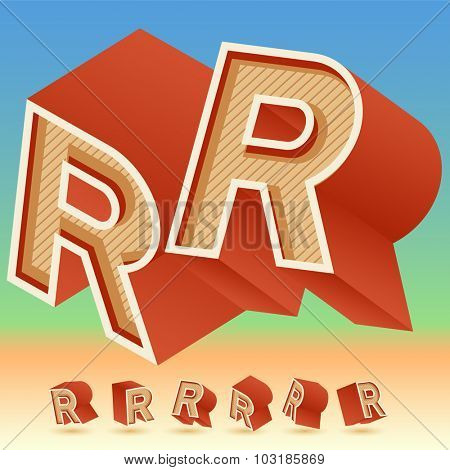 3D vector retro alphabet for summer typography design. All symbols in set have 8 random points of view. Letter R