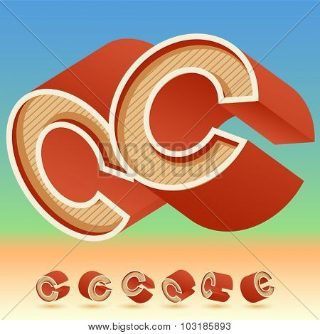 3D vector retro alphabet for summer typography design. All symbols in set have 8 random points of view. Letter C