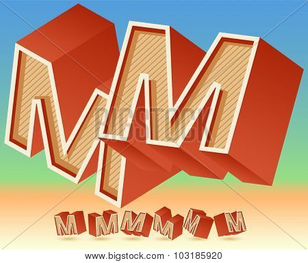 3D vector retro alphabet for summer typography design. All symbols in set have 8 random points of view. Letter M