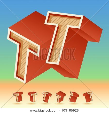 3D vector retro alphabet for summer typography design. All symbols in set have 8 random points of view. Letter T