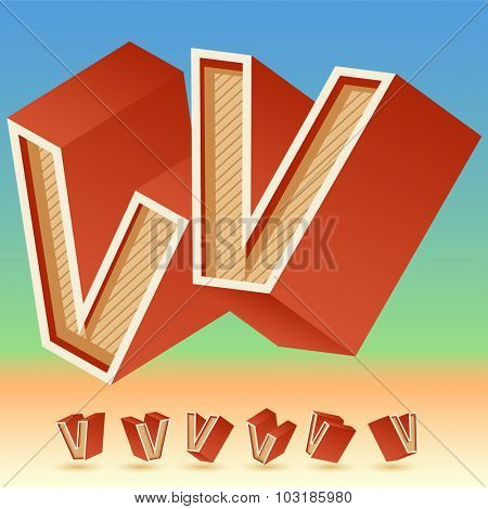 3D vector retro alphabet for summer typography design. All symbols in set have 8 random points of view. Letter V