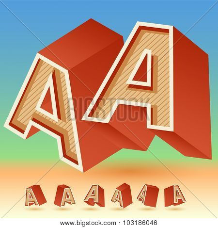 3D vector retro alphabet for summer typography design. All symbols in set have 8 random points of view. Letter A