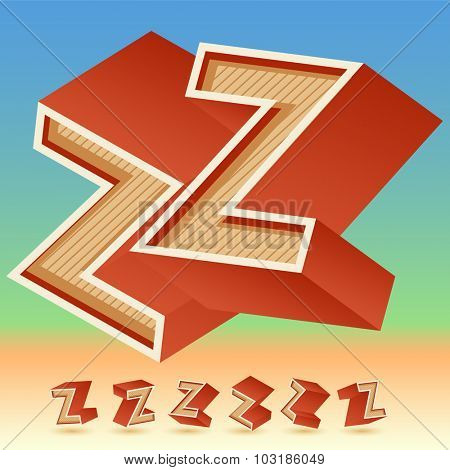 3D vector retro alphabet for summer typography design. All symbols in set have 8 random points of view. Letter Z