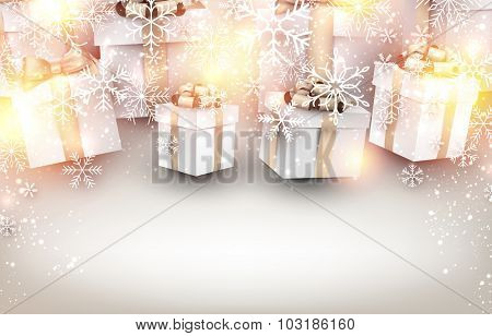 Golden winter background. Fallen bright snowflakes. Christmas gifts with place for text. Vector illustration.