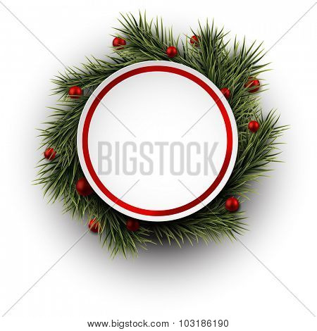 Christmas gift card on green spruce twigs with place for text. Vector illustration.