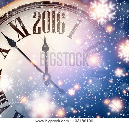 Vintage clock over snowfall christmas background. 2016 New year vector illustration.