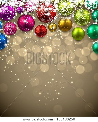 Christmas background with color balls. Vector Illustration.
