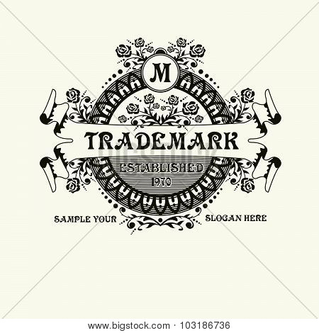 Beautiful  calligraphic monogram emblem template. Luxury elegant frame ornament line logo design vec