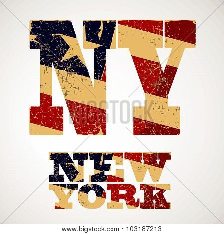 Vintage lettering NY and new York flag of the United States, typography, t-shirt graphics