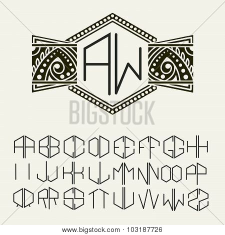 Stylish  graceful monogram , Elegant line art logo design in Art Nouveau Style and Set  template let