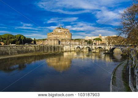 Castle Saint Ange And The Tiber River, Roma, Italia