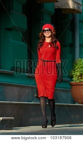 Lady In Red Dress in the city