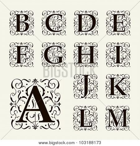Vintage set capital letters, floral Monograms and beautiful filigree font. Art Deco, Nouveau, Modern