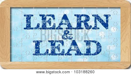 Jigsaw Puzzle Of Learn And Lead In Wooden Frame