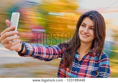 cheerful woman selfie