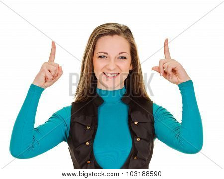young womman pointing finges up