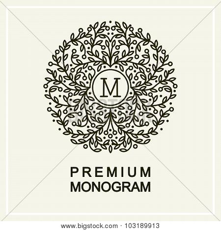 Stylish and graceful floral monogram  , Elegant line art logo design, vector template