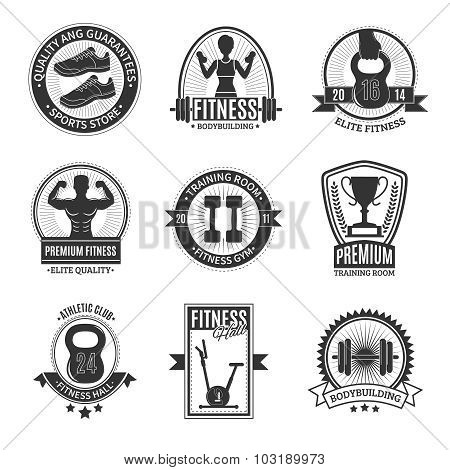 Fitness Club Black And White Badges