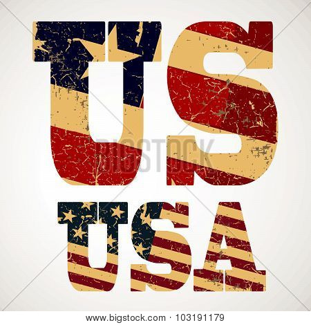 Vintage lettering US and USA flag of the United States, typography, t-shirt graphics