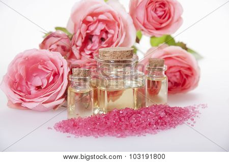 Cosmetic Oil For Cosmetic Procedures , Aromatic Bath Salt And Rose.