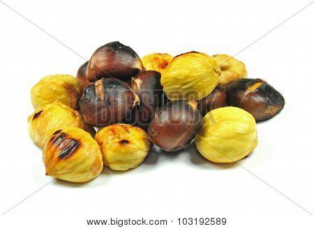 Roasted Chestnuts On White Background