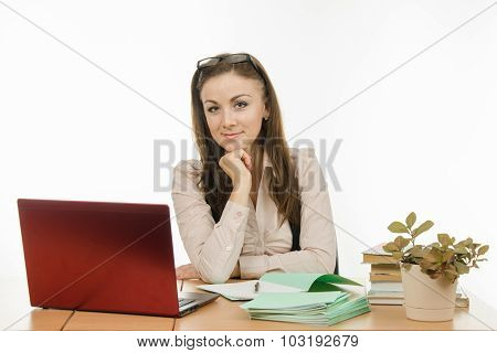 Portrait Of A Teacher At His Desk