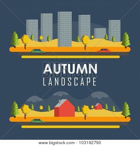 Vector rural autumn banners
