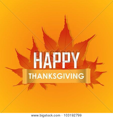 Happy Thanksgiving Day celebrations greeting card design with hanging maple leaves on grey backgroun