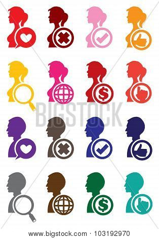 Vector Internet Icons For Man And Woman
