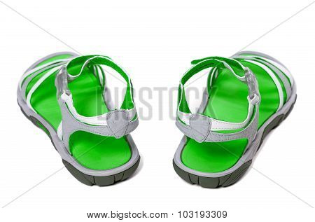 Green Summer Sandals On White Background