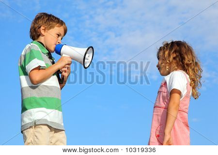 Little Boy, On Nature, Does Reprimand To Girl through loudspeaker
