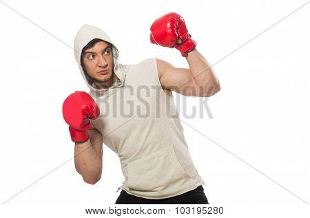 Boxing concept with young sportsman