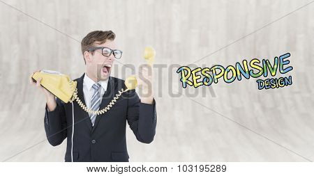 Geeky businessman shouting at telephone against curved wooden room